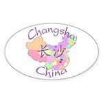 Changsha China Map Oval Sticker (10 pk)