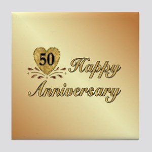 50th Anniversary Golden Heart Tile Coaster