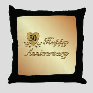 50th Anniversary Golden Heart Throw Pillow