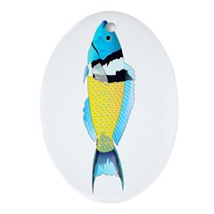 Bluehead Wrasse Oval Ornament