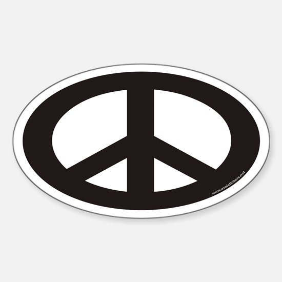 Peace Sign Euro Oval Decal