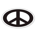 Peace Sign Euro Oval Sticker