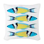 Bluehead Wrasse Woven Throw Pillow
