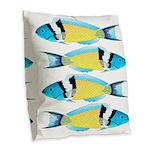 Bluehead Wrasse Burlap Throw Pillow