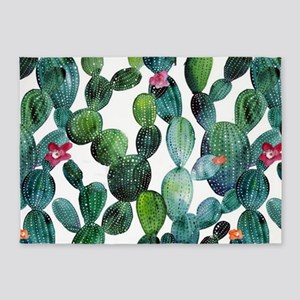 Scattered Desert Prickly Pear Cactu 5'x7'Area Rug