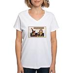 Halloween Witch & Clock Women's V-Neck T-Shirt