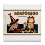 Halloween Witch & Clock Tile Coaster