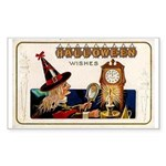 Halloween Witch & Clock Rectangle Sticker