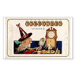 Halloween Witch & Clock Rectangle Sticker 10 pk)