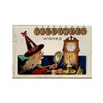 Halloween Witch & Clock Rectangle Magnet