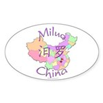 Miluo China Map Oval Sticker (10 pk)