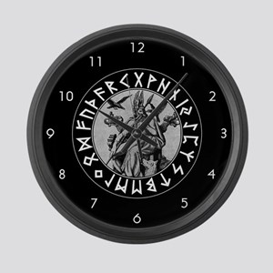 Odin Rune Shield Large Wall Clock