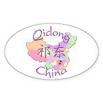 Qidong China Map Oval Sticker (10 pk)