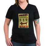 Weiner Dog Women's V-Neck Dark T-Shirt