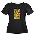 Busy Jack Women's Plus Size Scoop Neck Dark T-Shir