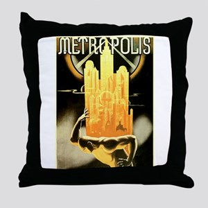 Worker Supporting City Throw Pillow