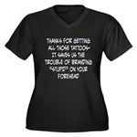 Thanks Women's Plus Size V-Neck Dark T-Shirt