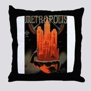 Worker Supporting City, Red Throw Pillow