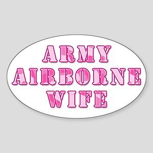 Army Airborne Wife Pink Camo Oval Sticker