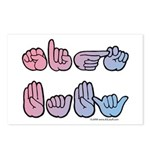 PinkBlue SIGN BABY SQ Postcards (Package of 8)