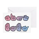 PinkBlue SIGN BABY SQ Greeting Card