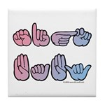 PinkBlue SIGN BABY SQ Tile Coaster