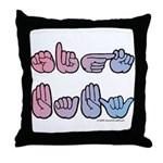 PinkBlue SIGN BABY SQ Throw Pillow