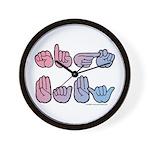 PinkBlue SIGN BABY SQ Wall Clock