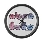 PinkBlue SIGN BABY SQ Large Wall Clock