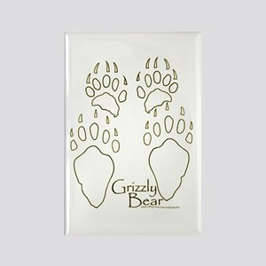 Grizzly Bear Tracks Design Rectangle Magnet