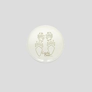 Grizzly Bear Tracks Design Mini Button