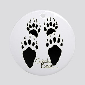 Grizzly Bear Tracks Design Ornament (Round)