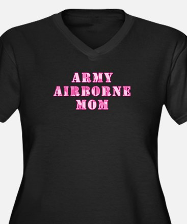 Army Airborne Mom Pink Camo Women's Plus Size V-Ne