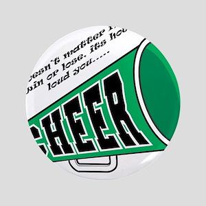 """Green Cheer Horn 3.5"""" Button"""