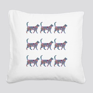 Rainbow Cat Design Gems Square Canvas Pillow