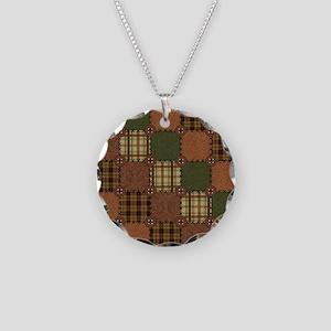 QUILT SQUARE Necklace Circle Charm