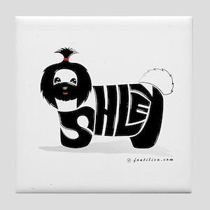 Asley (Black Shihtzu Dog) Tile Coaster