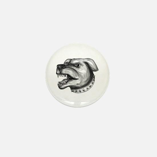 Rottweiler Dog Head Growling Tattoo Mini Button