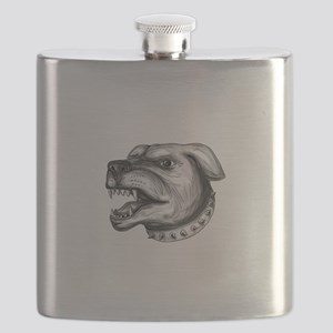 Rottweiler Dog Head Growling Tattoo Flask