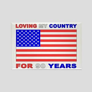 Patriotic 90th Birthday Rectangle Magnet
