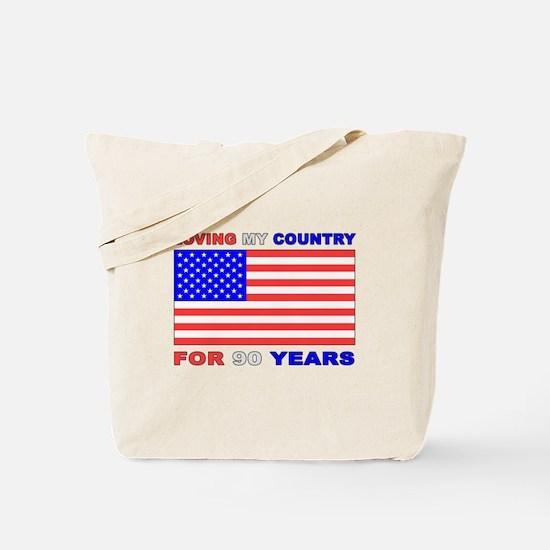Patriotic 90th Birthday Tote Bag
