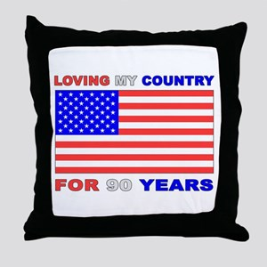 Patriotic 90th Birthday Throw Pillow