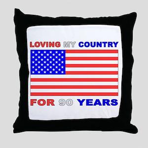 Patriotic 90th Birthday Throw Pillow