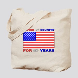 Patriotic 80th Birthday Tote Bag