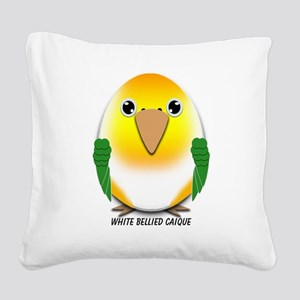 White Bellied Caique Parrot Square Canvas Pillow