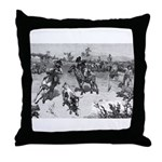 Woodcut Cattle Roundup Throw Pillow