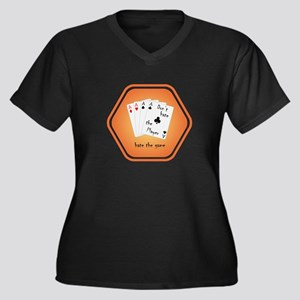 Play with four Aces Women's Plus Size V-Neck Dark