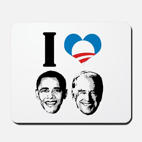 I Love Obama Biden Mousepad