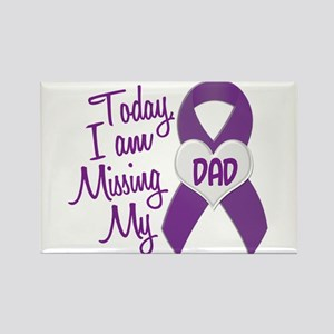 Missing My Dad 1 PURPLE Rectangle Magnet