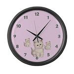 Three Kitties Large Wall Clock